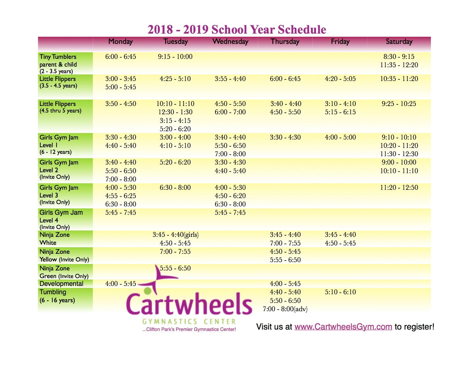 2018 - 2019 Schedule - Cartwheels Gymnastics Center